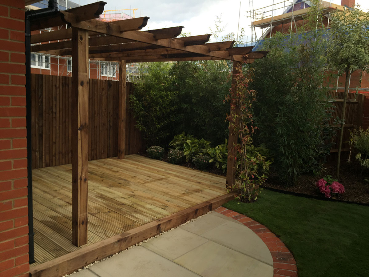 Wooden decking and trellis work