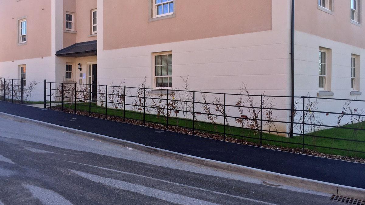 Metal railings at new development